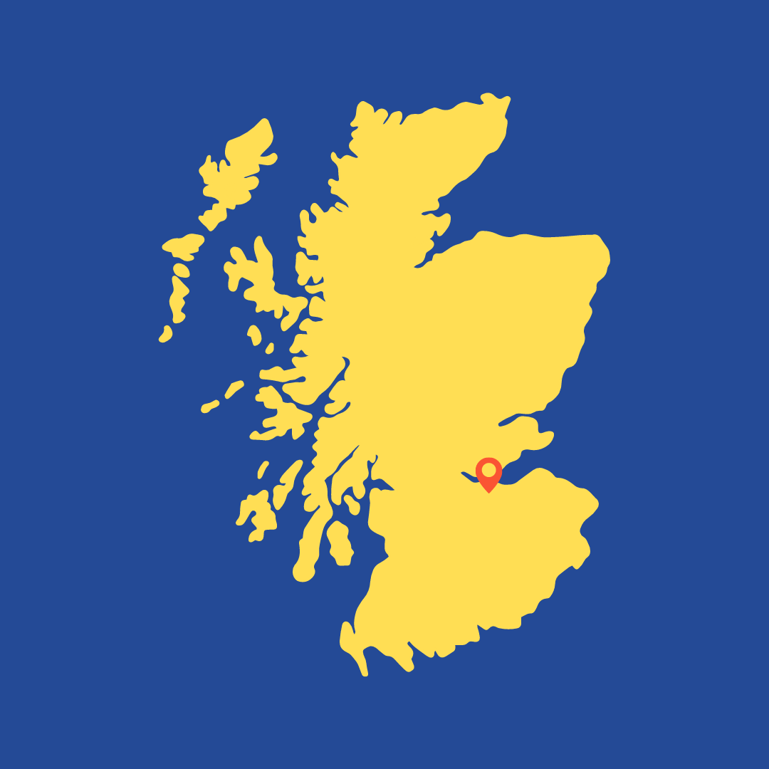 Yellow map of Scotland on blue background with Edinburgh highlighted where WHYA spent this grant